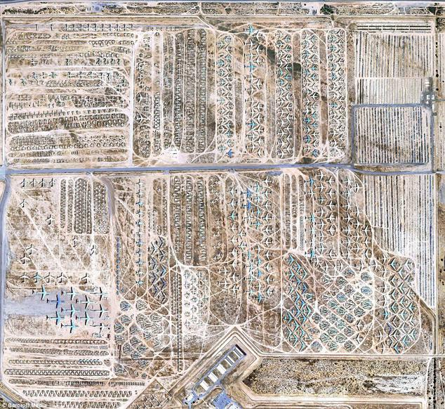 End of the line: The 2,600 acre site is home to 4,200 aircraft, of which 80 per cent are used as spare parts for the current U.S Air Force fleet. It's where old planes go to die - a 2,600-acre patch of U.S. desert where several generations of military aircraft are stored in what has been dubbed The Boneyard.