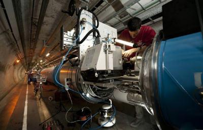 The world's most powerful atom smasher on Monday experienced the first collisions of particles, only three days after it was restarted, the European Organization for Nuclear Research (CERN) said. (File Photo)