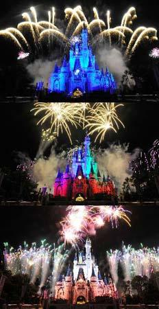 Combo photo shows fireworks displayed at Disney's Magic Kingdom Park, during a welcome event prior to the 2010 International POW WOW in Orlando, Florida, the United States, May 16, 2010. The annual premier international marketplace for travel to the United States, will gather over 1,000 U.S. travel organizations and worldwide tourism operators. [Xinhua photo]
