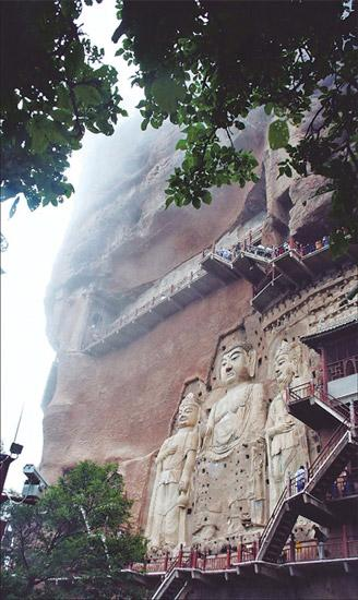Mount Maijishan is home to the most famous cultural relics in Tianshui. (provided to china daily)