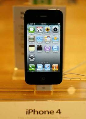 An iPhone 4 is displayed at the Apple Store 5th Avenue in New York June 24, 2010. (Xinhua/Reuters Photo)