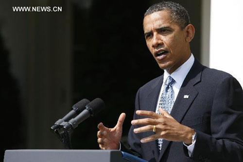 U.S.PresidentBarackObamaspeakstoreportersattheWhiteHouseinWashingtonD.C.,capitaloftheUnitedStates,July16,2010.(Xinhua/LeighVogel)