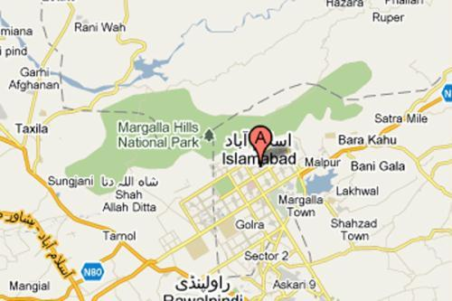 Location of Margalla Hills in Pakistan's capital Islamabad.  (Map Source: Google Maps)