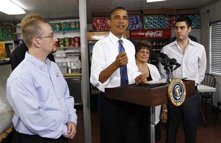 U.S. President Barack Obama speaks about the economy after meeting with small business owners at the Tastee Sub Shop in Edison, New Jersey July 28, 2010. (Xinhua/Reuters Photo)