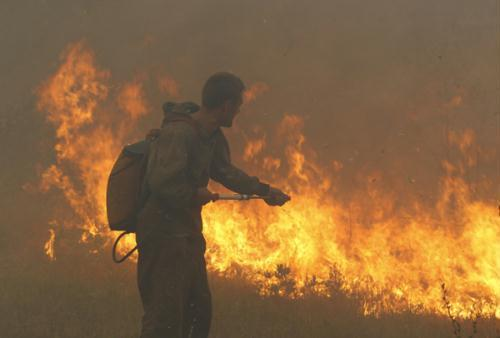 A firefighter attempts to extinguish fire outside the town of Shatura, some 110 km southeast of Moscow, August 12, 2010.  (Xinhua/Reuters Photo)