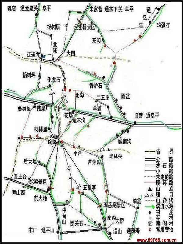 在其南北两侧分布着五岳寨,驼梁,天生桥三个国家级风景区,象串在一起