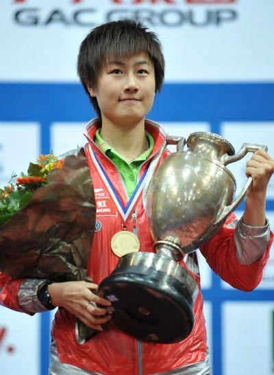Ding Ning of China reacts during the awarding ceremony of the final of ...