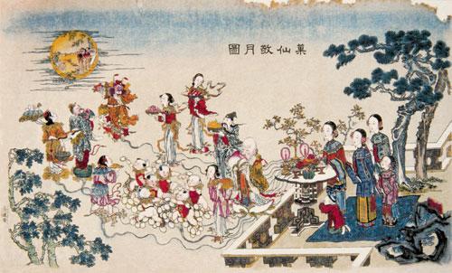 果仙敬月图(杨柳青年画)