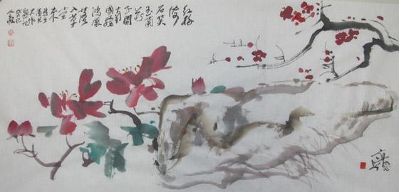 饭后黄教授画了一幅大写意水墨画《荷花》,荷叶,荷花墨韵酣畅,小鱼也