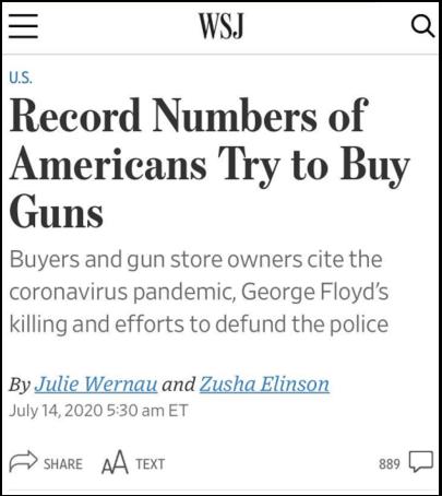 因为担心政策改变而发生枪支销售上升虽属正常