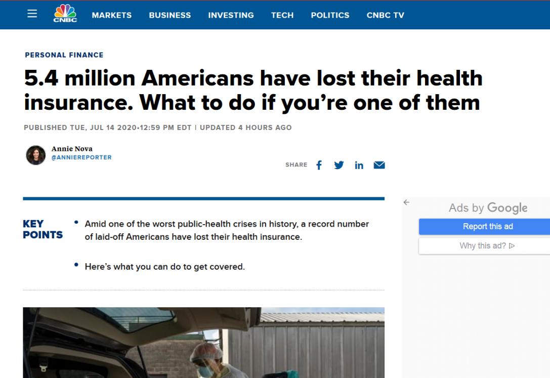 北美观察丨540万美国人因疫情失去医疗保险 联邦政府坐视不管
