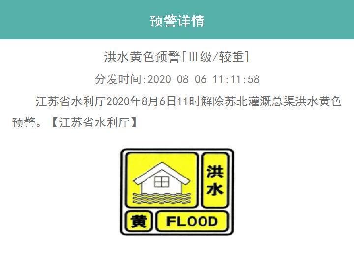 江苏省水利厅解除两条河流预警信号