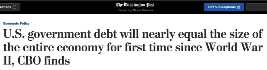 美国债务将超自身经济体量 二战以来最高