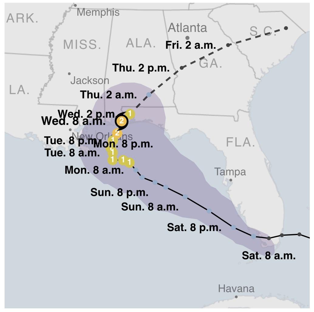 """美国国家飓风中心:""""莎莉""""已经降级为一级飓风"""