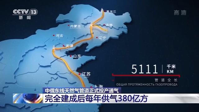中俄东线天然气管道正式投产通气 每年向我国提供天然气380亿方