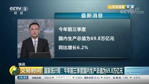 [交易时间]快讯 国家统计局:今年三季度国内生产总值为69.8万亿元