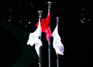 闭幕式现场红旗飘扬