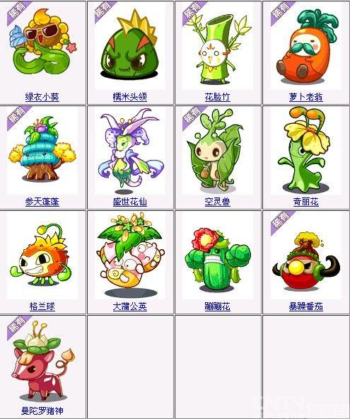 洛克王国植物组宠物名单