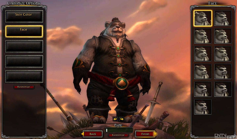 魔兽世界《熊猫人之谜》人物创建界面展示