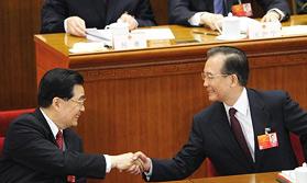 胡锦涛与温家宝握手致意