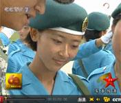 留学生参加女兵方阵