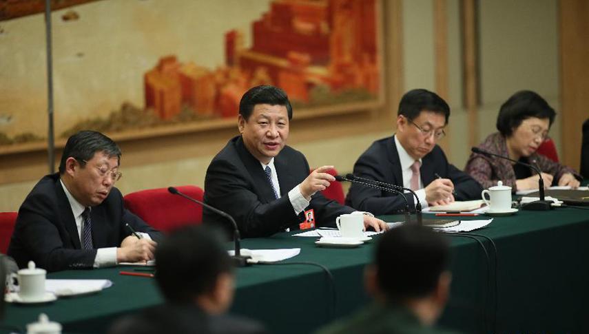 习近平等领导同志和代表一起审议政府工作报告