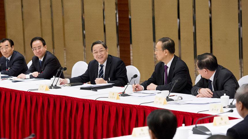 俞正声看望致公党、无党派人士、侨联界委员并参加讨论