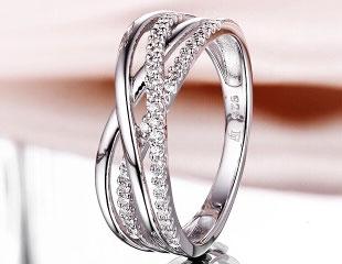 施华洛世奇水钻镀白金S925戒指