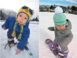 两岁萌宝啃着雪球去滑雪 未来冬奥之星!