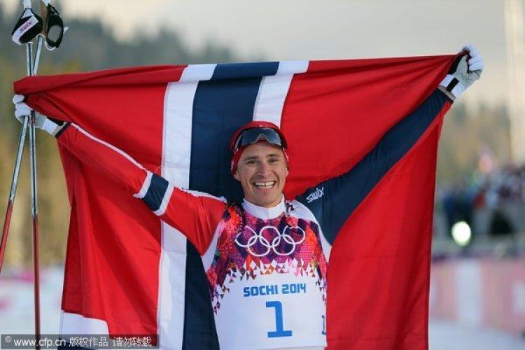 [高清组图]男子越野滑雪自由竞速赛 挪威夺金