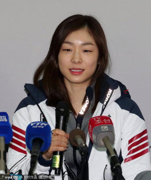 [高清组图]金妍儿兵发索契 花滑女王机场受热捧