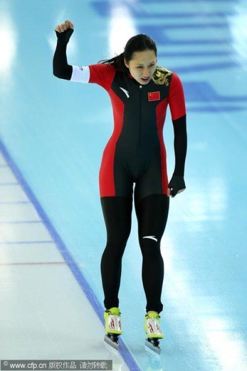 [高清组图]创造历史!张虹夺中国冬奥速滑首金