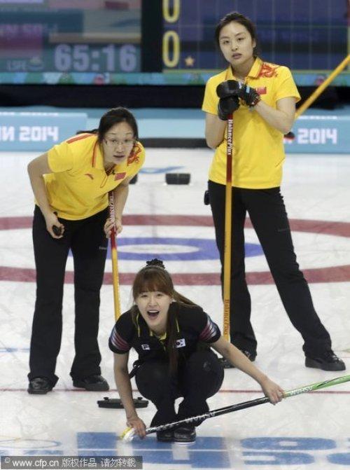 [高清组图]中国女壶11-3韩国 保留晋级4强希望