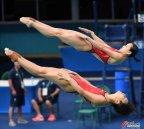 [高清组图]吴敏霞施廷懋夺女子双人3米板冠军