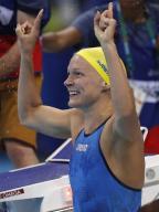 [高清组图]女子100米蝶泳 舍斯特伦夺冠