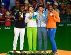 [高清组图] 里约奥运柔道女子63公斤级颁奖仪式