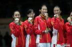 [高清组图]里约奥运女子重剑团体 颁奖仪式