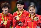 [高清组图]奥运乒乓球女团颁奖仪式 中国夺冠