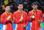 [高清组图]奥运乒乓球男团颁奖仪式 中国夺冠