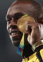 [高清组图]田径男子200米颁奖仪式 博尔特夺冠