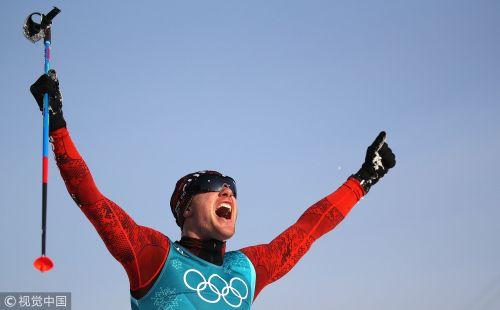 [高清组图]冬奥越野滑雪男子15公里 瑞士选手夺冠
