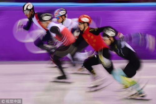 [高清组图]短道男子500米预赛 武大靖破纪录晋级
