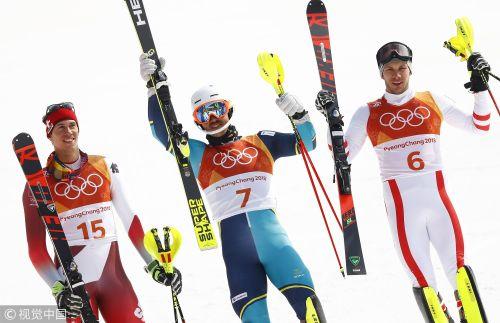 [高清组图]高山滑雪男子回转 瑞典老将米勒尔夺冠