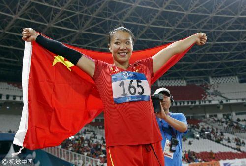 [高清组图]标枪刘诗颖破纪录 中国六夺亚运冠军