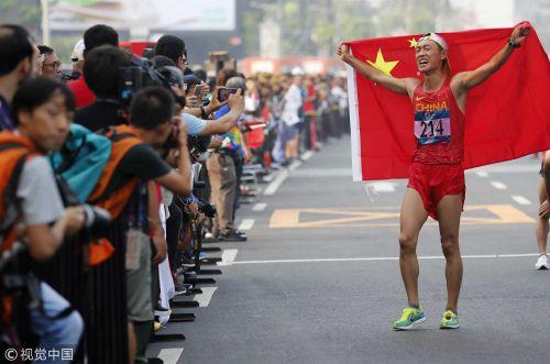 [高清组图]男子竞走王凯华逆转夺金 中国亚运4连冠