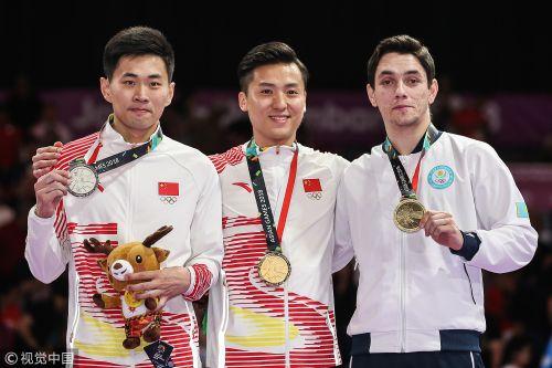 [高清组图]亚运男子蹦床 董栋夺冠高磊摘银