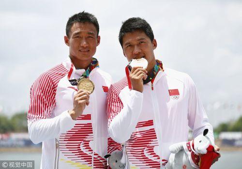 [高清组图]男双划艇刘浩/王浩夺金 中国再登顶