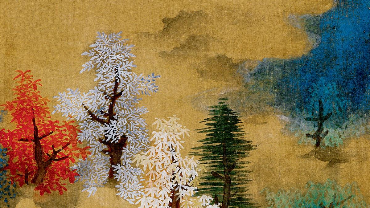 【央视画廊】传世墨迹——没骨重彩染山间 蓝瑛《白云红树图》