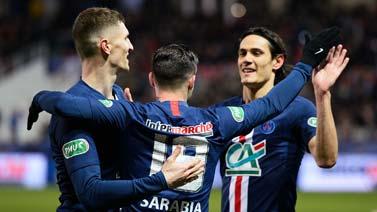 [图]法国杯-悍将4场6球姆巴佩传射 巴黎6-1进四强