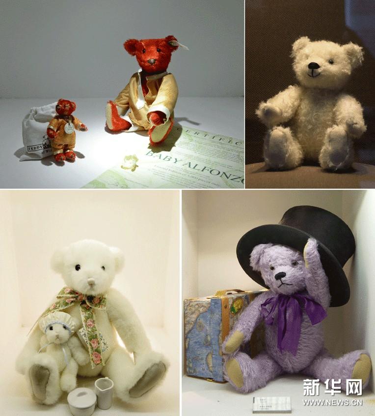 陈列在成都泰迪熊博物馆里的泰迪熊(拼版照片,11月11日摄)。